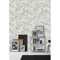 Zelfklevend behang Monstera grijs wit 122zx244 cm
