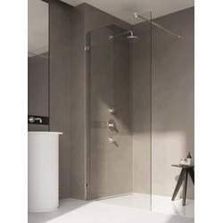 Ben Yess Zijwand t.b.v. douchedeur voor bad met vierkant scharnier 30-130x140 cm Mat Zwart / Helder Glas