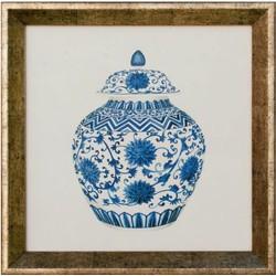 Fine Asianliving Chinese Schilderij Blauw Pot Met Lijst