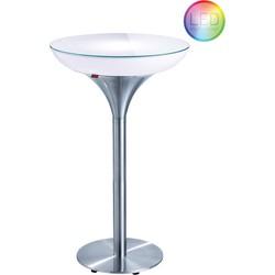 Moree Ronde Statafel - Bartafel Lounge M - Hoogte 105 Cm LED Accu Outdoor - Wit
