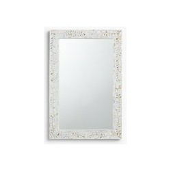 John Lewis & Partners Mother Of Pearl Leaves Mirror, 90 x 60cm, Cream