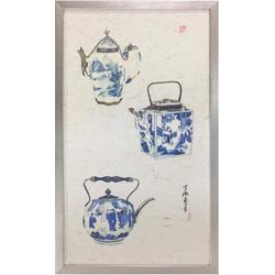 Fine Asianliving Chinese Schilderij 3 Blauwe Potten