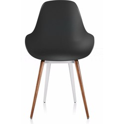 Kubikoff Slice Dimple Closed Chair - Wit Onderstel - Walnoot Slices - Zwarte Zitting