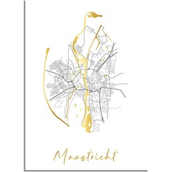 Maastricht Plattegrond Stadskaart poster met goudfolie bedrukking - A4 + Fotolijst wit