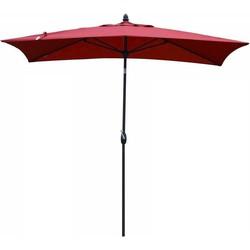 SORARA Porto Parasol  Rood  3 x 2 m  Slinger- en Knikmechanisme  Rechthoekig