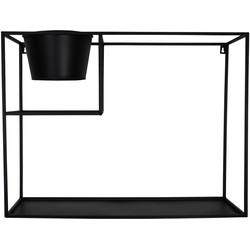 Metalen Wandkast met Pot-60x19x45cm-Zwart-Housevitamin