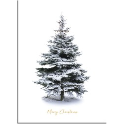 Kerstposter Merry Christmas Kerstboom - Goudfolie  - A2 + Fotolijst zwart