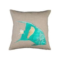 Marinette Saint-Tropez Embroided Natural Fish Cushion Cover