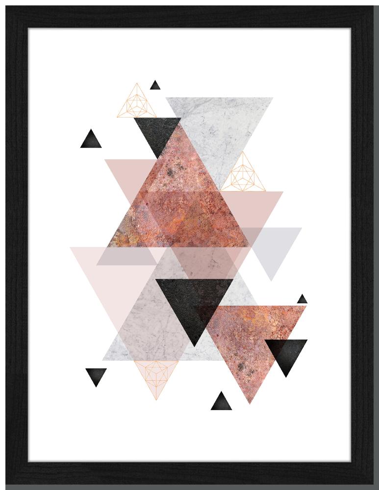 Pink Triangles Fotoprint In Houten Frame 30 X 40 X 25 Cm Liv