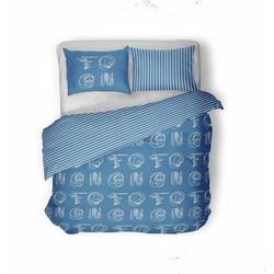 Nightsrest Dekbedovertrek Flanel FRILLS Blue Maat: 200x200/200cm