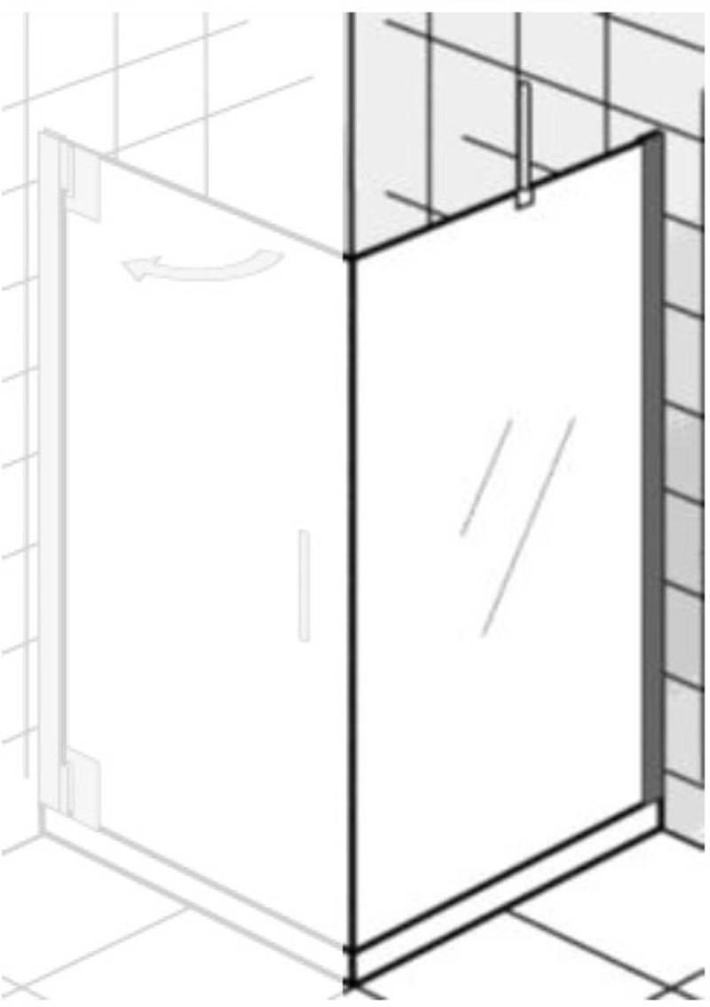 Ben Futura zijwand voor draaideur 140x200 cm chroom / grijs glas -