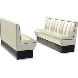 Bel Air Dinerbank Single Booth HW-150 Off White