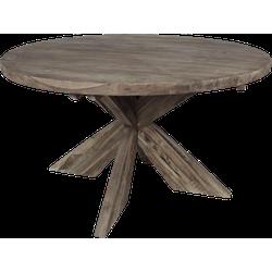Ronde eettafel met kruispoot - 130x130 cm - oud grijs - teak