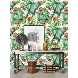 Vliesbehang Exotische bloemen groen oranje 122zx244 cm