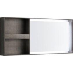 Keramag Citterio lichtspiegel 133,4x58,4x14cm.led opbergruimte l/r Eiken Grijsbruin