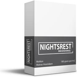 Nightsrest Matras Beschermer Molton  Hoeslaken 180 gram per/m2 - Wit Maat: Lits-jumeaux (180x200/220 cm)