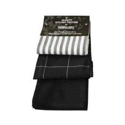 Cotton Black & White Pack of 3 Tea Towels