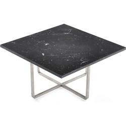OxDenmarq Salontafel Ninety - L60 X B60 X H30 - RVS Onderstel - Zwart Marmer