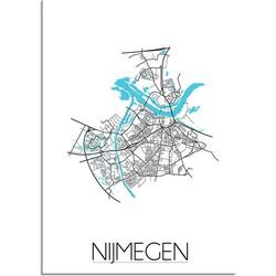 Nijmegen Plattegrond poster - A2 + Fotolijst zwart