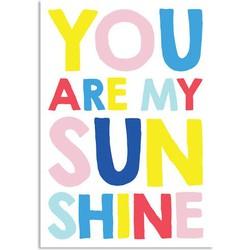 You are my sunshine - Kleurrijk - Tekst poster - A2 + Fotolijst zwart
