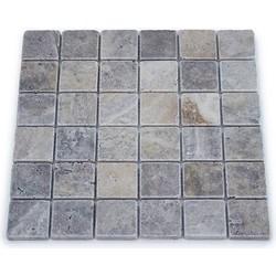 Travertine Silver Tumbled 4,8 x 4,8 x 1 cm