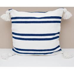 Pom pom kussen blue/white