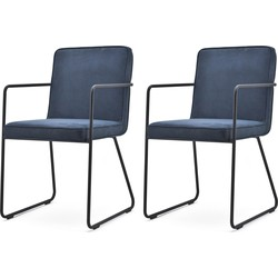BY-BOO Set 2 Stoelen Charly - Stof - Blauw