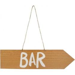 Houten bord met tekst Bar