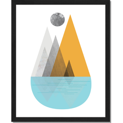 Mountain Lake - Fotoprint in houten frame - 40 X 50 X 2,5 cm