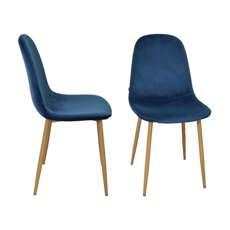 Stockholm stoel - velvet blauw - set van 4 -