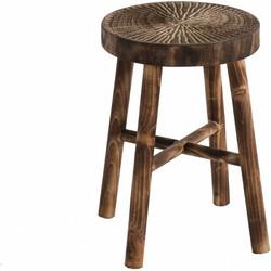 Etnic - Krukje - rond - dia 35cm - H 51cm - Paulownia hout - bruin