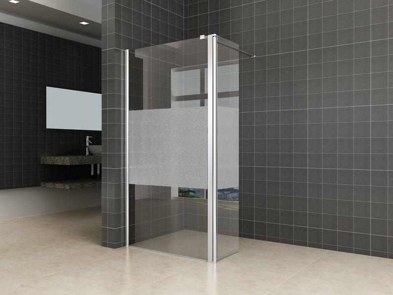 Saqu Zijwand met scharnierprofiel links 35x200 cm Nano Matglas -