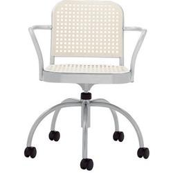 De Padova Silver Castor armchair. White,Satin aluminium