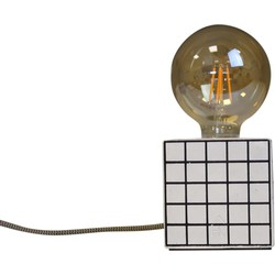Blok Lamp-10x10cm-incl. grote gloeilamp-Grid- Zwart/ Wit-Housevitamin