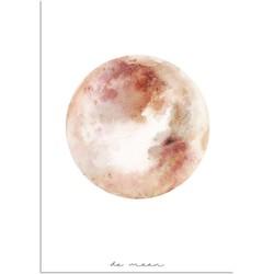 Maan Waterverf stijl poster - Wanddecoratie - Roze Oranje Rood - A2 + Fotolijst wit