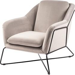 24Designs Miami Fauteuil - Slate Grey Fluweel - Zwart Metalen Frame
