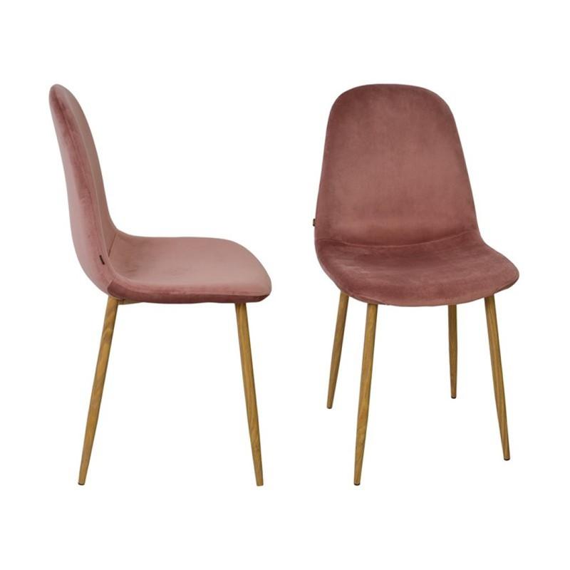 Stockholm stoel - velvet roze - set van 4 -