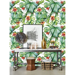 Zelfklevend behang Exotische bloemen groen oranje 60x244 cm