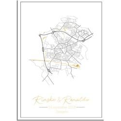 Huwelijksposter Goudfolie / Zilverfolie / Koperfolie Stadskaart DesignClaud - Huwelijkscadeau gepersonaliseerd- A4 poster