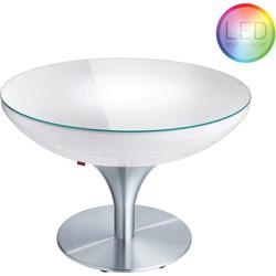 Moree - Ronde Salontafel Lounge - Hoogte 55 Cm LED Accu Outdoor - Wit