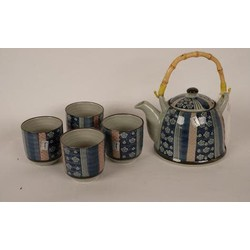 Fine Asianliving Chinese Theeset Porselein Blauw-Rood