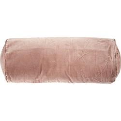 Rivièra Maison Velvet Roll Kussenhoes Katoen 50 x Ø20 cm - Roze