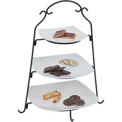 Cosy & Trendy Buffet Etagere Met 3 Niveaus - Ø 18.5-24.5-28.5 cm x 48 cm - Zwart-Wit