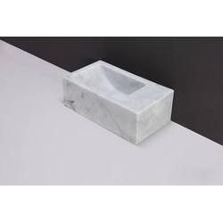 Forzalaqua Venetia XS Fontein Links 29x16x10 cm zonder kraangat Carrara Marmer Gepolijst