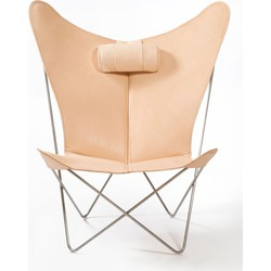 OxDenmarq Fauteuil KS Chair - RVS Onderstel - Leer - Nature