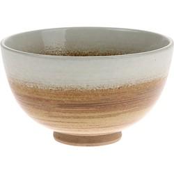 HK-living schaal bruin/wit kyoto keramiek