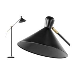 Ogilvy staande lamp, mat zwart en messing