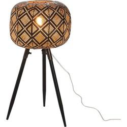 Oriental – Tafellamp – oosters – bol – metaal – zwart – driepikkel