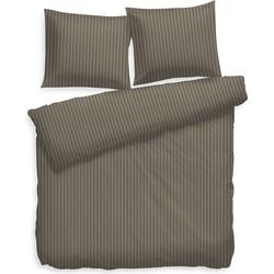 Dekbedovertrek Uni Stripe taupe grey - 100% Katoen-satijn
