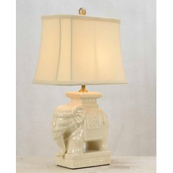 Fine Asianliving Fine Asianliving Oosterse Tafellamp Porselein Olifant Wit
